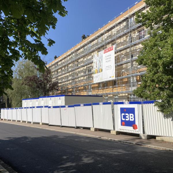 Installation chantier réhabilitation Copropriété Bellevue